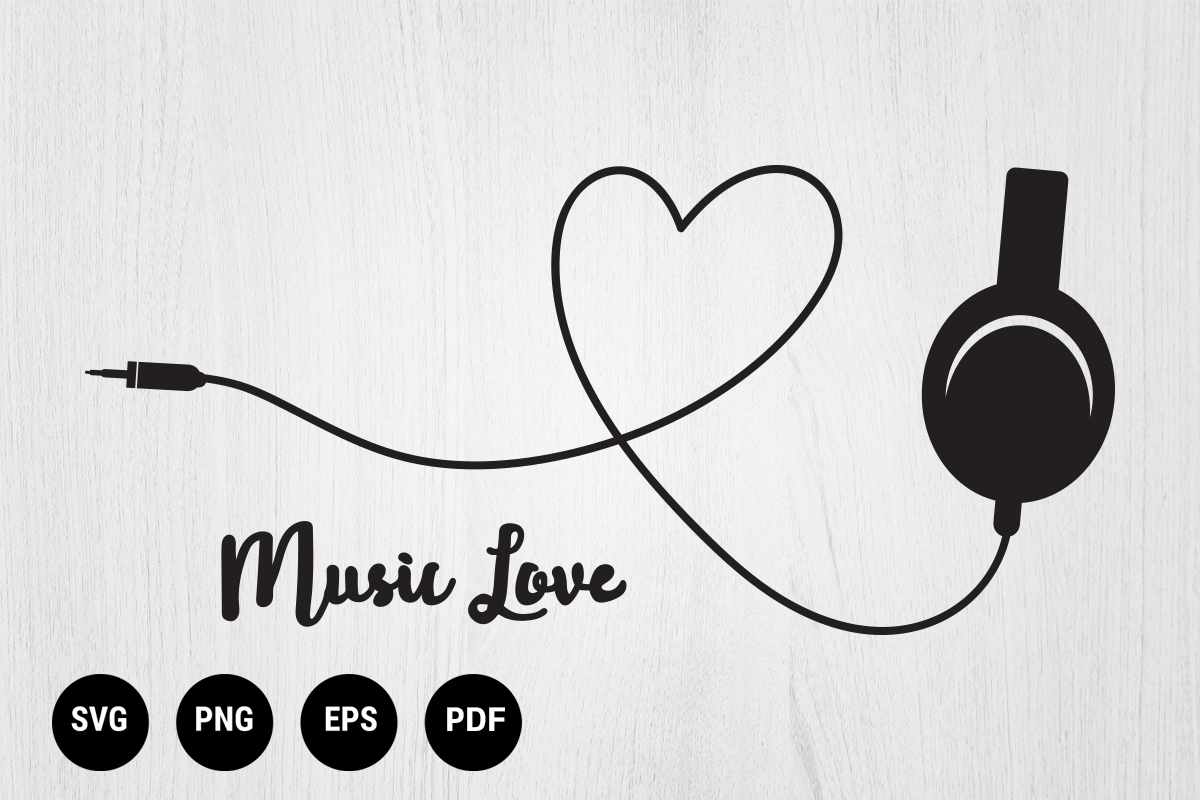 Download Free Headphones And Heart Logotype Graphic By 99 Siam Vector for Cricut Explore, Silhouette and other cutting machines.