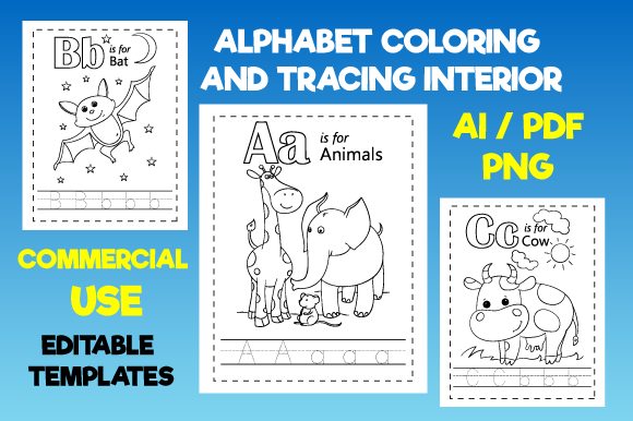 KDP Alphabet Coloring and Tracing Page Grafik KPD Innenseiten von MK DESIGNS