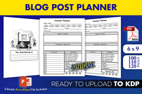 KDP | Blog Post Planner Content Creator Graphic KDP Interiors By Beast Designer