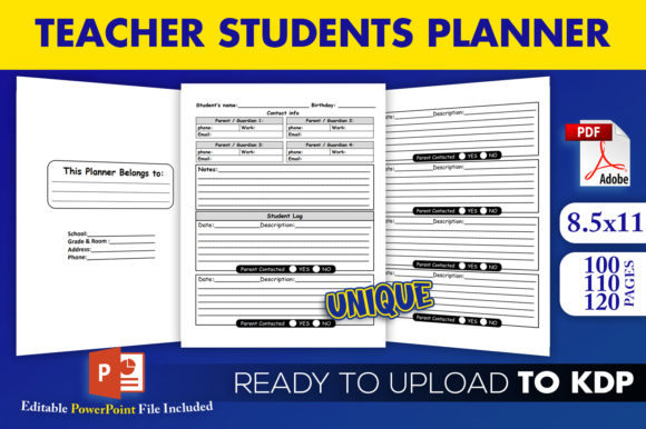 Print on Demand: Kdp Interior | Teacher Students Planner Graphic KDP Interiors By Beast Designer