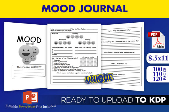 Print on Demand: Mood Journal Mental Health Tracker | KDP Gráfico Páginas KDP Por Beast Designer