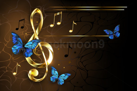 Musical Key with Blue Butterflies Graphic Illustrations By Blackmoon9