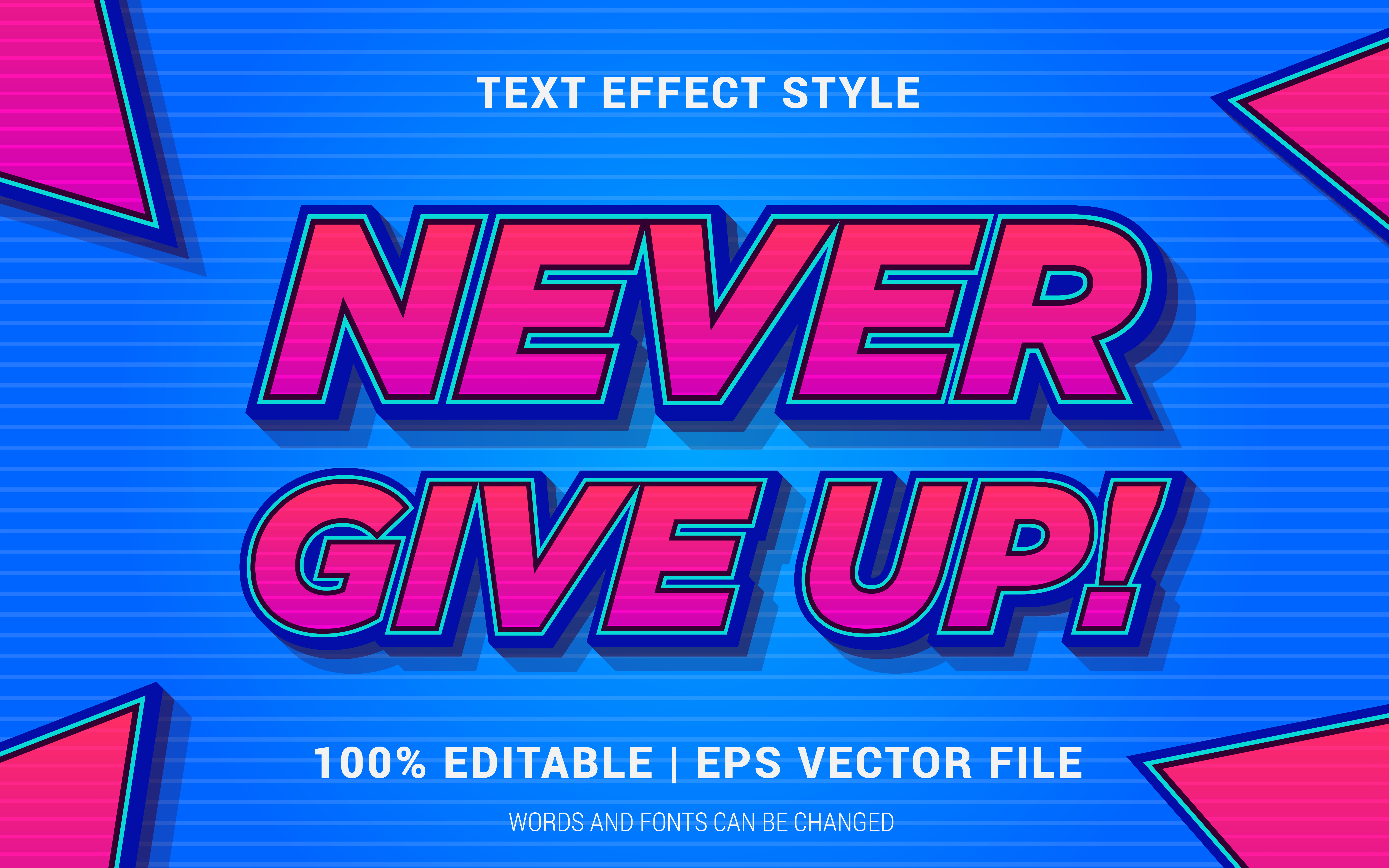 Download Free Never Give Up Text Effect Style Graphic By Neyansterdam17 for Cricut Explore, Silhouette and other cutting machines.