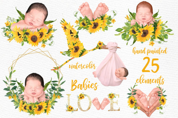 Newborn Clipart Cute Babies Infant  Graphic Illustrations By LeCoqDesign