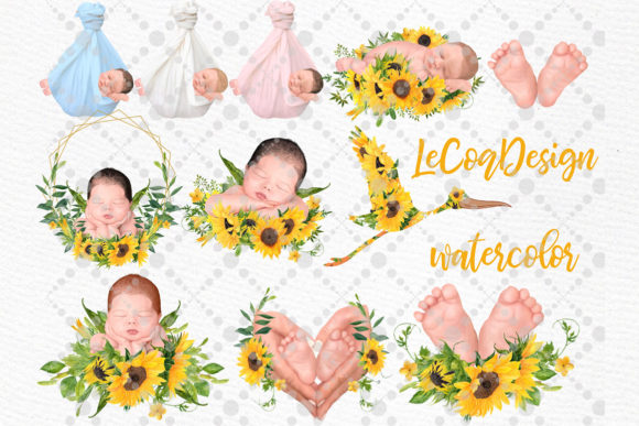 Newborn Clipart Cute Babies Infant Graphic Illustrations By LeCoqDesign - Image 2