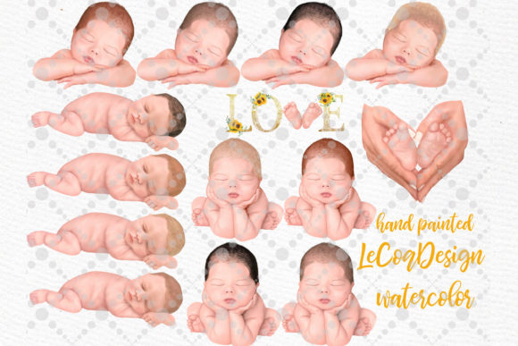 Newborn Clipart Cute Babies Infant Graphic Illustrations By LeCoqDesign - Image 3