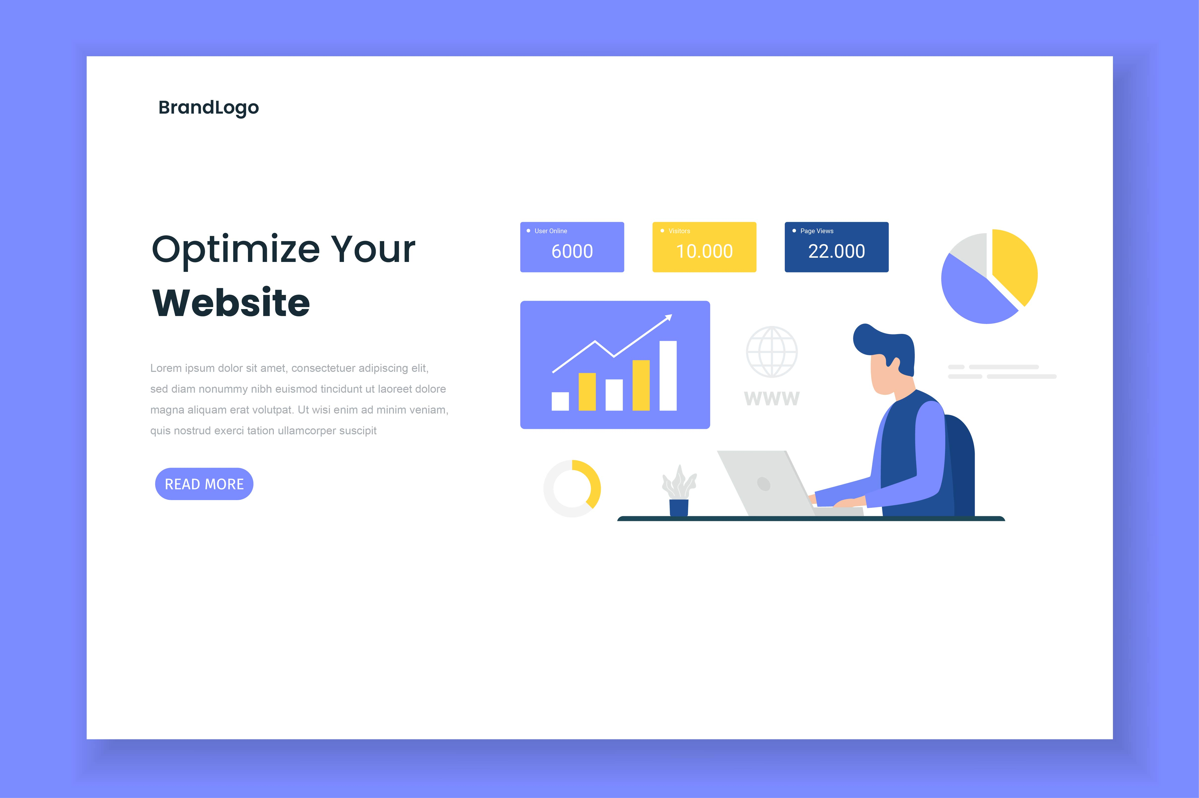 Download Free Optimize Site Illustration Landing Page Graphic By H12 for Cricut Explore, Silhouette and other cutting machines.