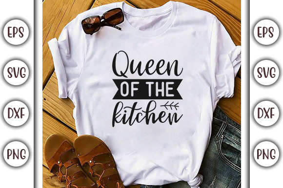 Download Free Potholder Design Queen Of The Kitchen Graphic By Graphicsbooth for Cricut Explore, Silhouette and other cutting machines.