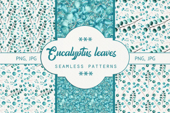Print on Demand: Seamless Patterns Eucalyptus Leaves. Graphic Patterns By Natika_art