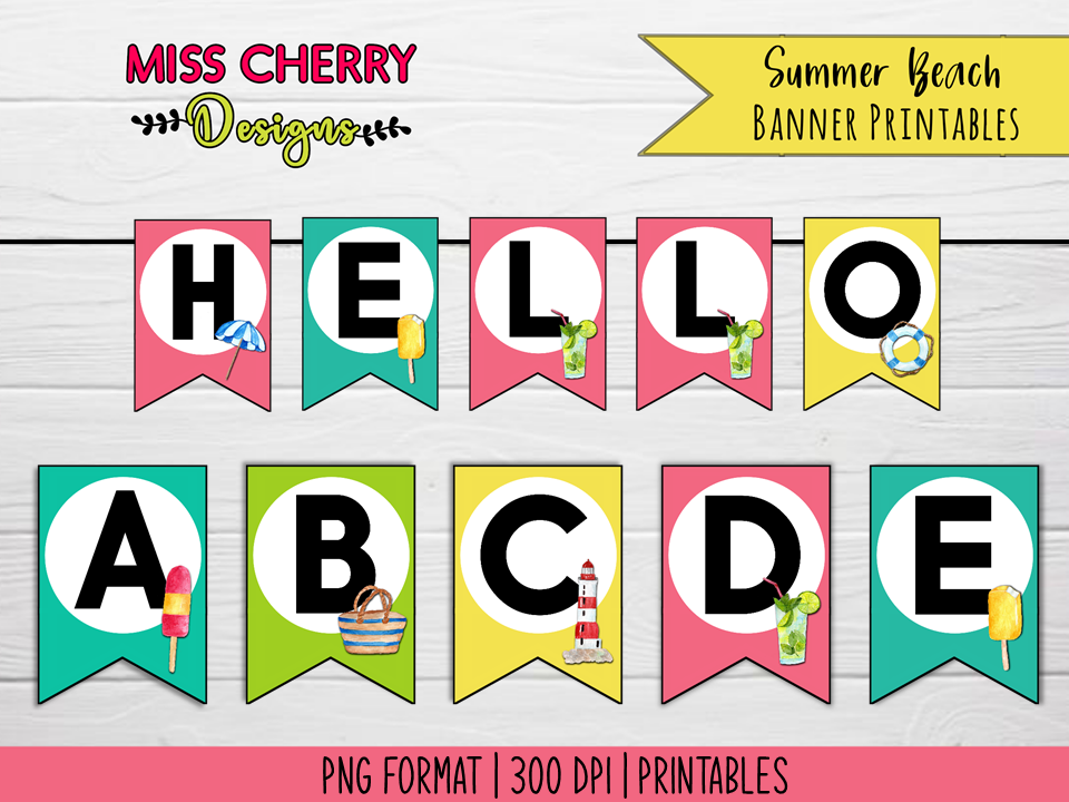 Download Free Summer Beach Banner Printables Graphic By Miss Cherry Designs for Cricut Explore, Silhouette and other cutting machines.