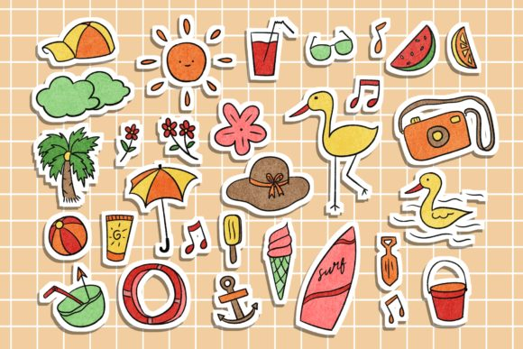 Print on Demand: Summer Stickers Illustration Graphic Illustrations By haifebruary