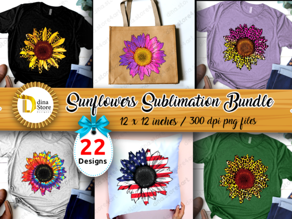 Print on Demand: Sunflowers Sublimation Bundle   Grafik Plotterdateien von dina.store4art