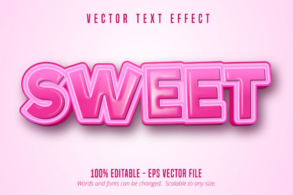 Print on Demand: Sweet Text, Cartoon Style Editable Text Graphic Graphic Templates By Mustafa Bekşen