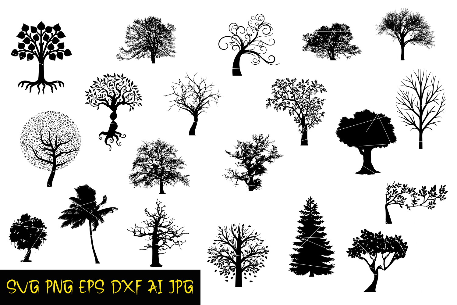 Download Free Tree Silhouettes Graphic By Denysdigitalshop Creative Fabrica for Cricut Explore, Silhouette and other cutting machines.