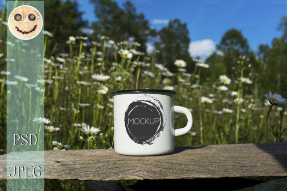 Print on Demand: White Campfire Mug  with Daisy Field Graphic Product Mockups By TasiPas