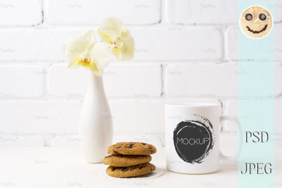 Download Free White Coffee Mug Mockup With Cookies Graphic By Tasipas for Cricut Explore, Silhouette and other cutting machines.