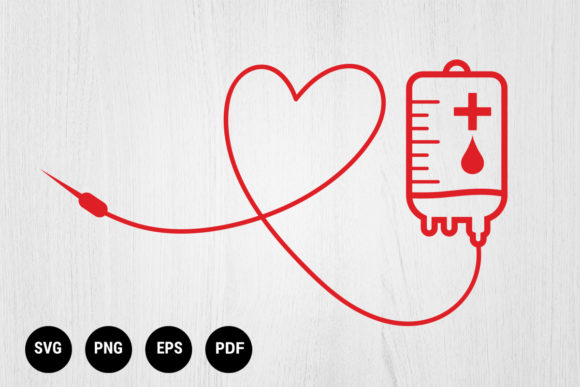 Download Free Blood Donation Bag With Tube Heart Graphic By 99 Siam Vector for Cricut Explore, Silhouette and other cutting machines.