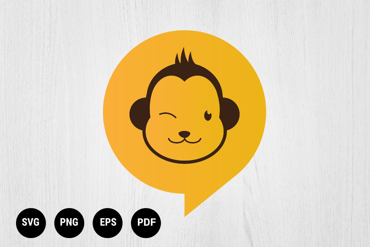 Download Free Cute Monkey Talk Logo Design Graphic By 99 Siam Vector SVG Cut Files
