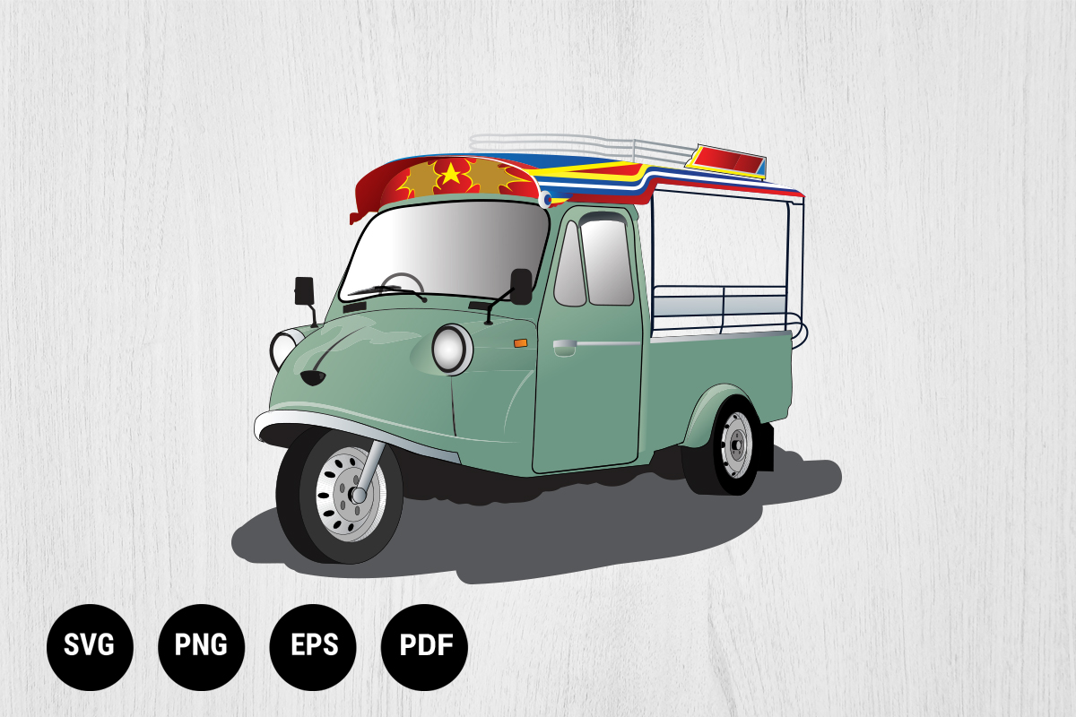 Download Free Motor Tricycle Tuk Tuk Thailand Graphic By 99 Siam Vector for Cricut Explore, Silhouette and other cutting machines.