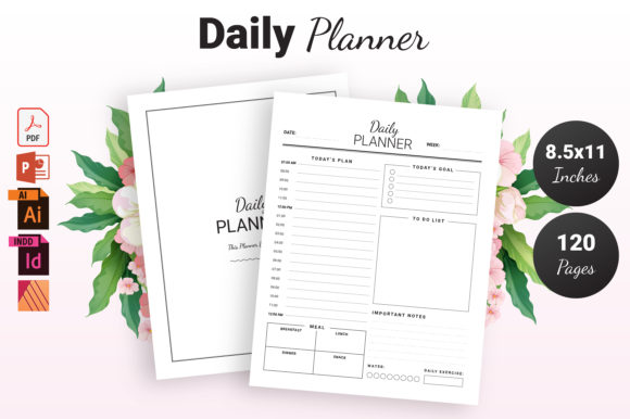 Print on Demand: Daily Planner - KDP Interior Gráfico Páginas KDP Por KDP Ninja