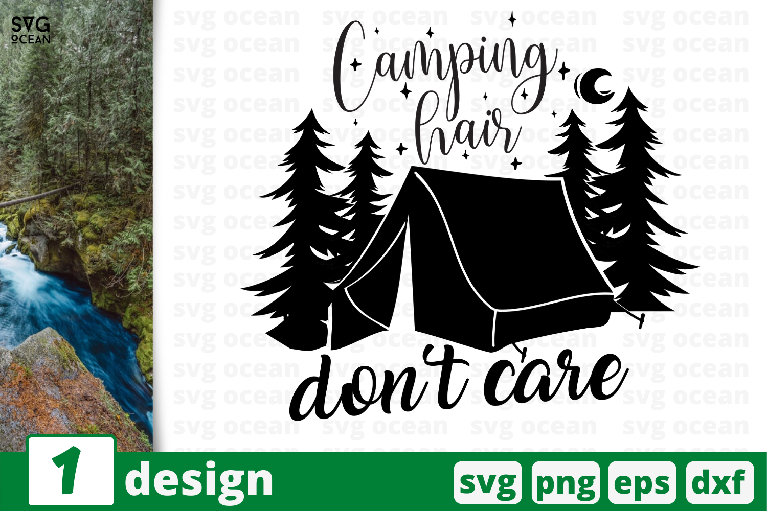 Download Free Camping Hair Don T Care Graphic By Svgocean Creative Fabrica for Cricut Explore, Silhouette and other cutting machines.