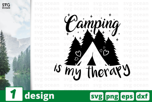 Download Free 1 Camping Is My Therapy Cricut Svg Graphic By Svgocean Creative Fabrica for Cricut Explore, Silhouette and other cutting machines.
