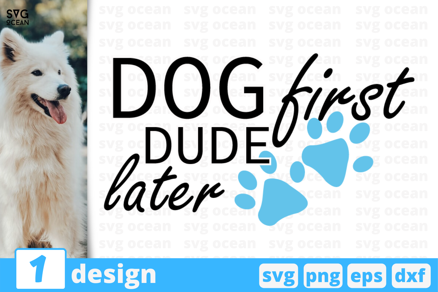 Download Free Dog First Dude Later Graphic By Svgocean Creative Fabrica for Cricut Explore, Silhouette and other cutting machines.