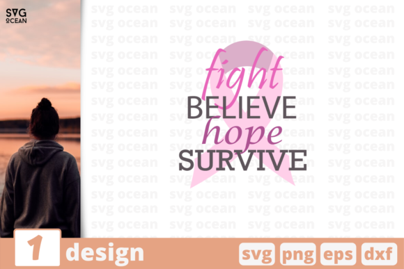 Download Free Fight Believe Hope Survive Graphic By Svgocean Creative Fabrica for Cricut Explore, Silhouette and other cutting machines.