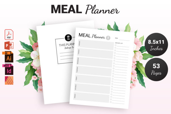 Print on Demand: Weekly Meal Planner - KDP Interior Graphic KDP Interiors By KDP Ninja