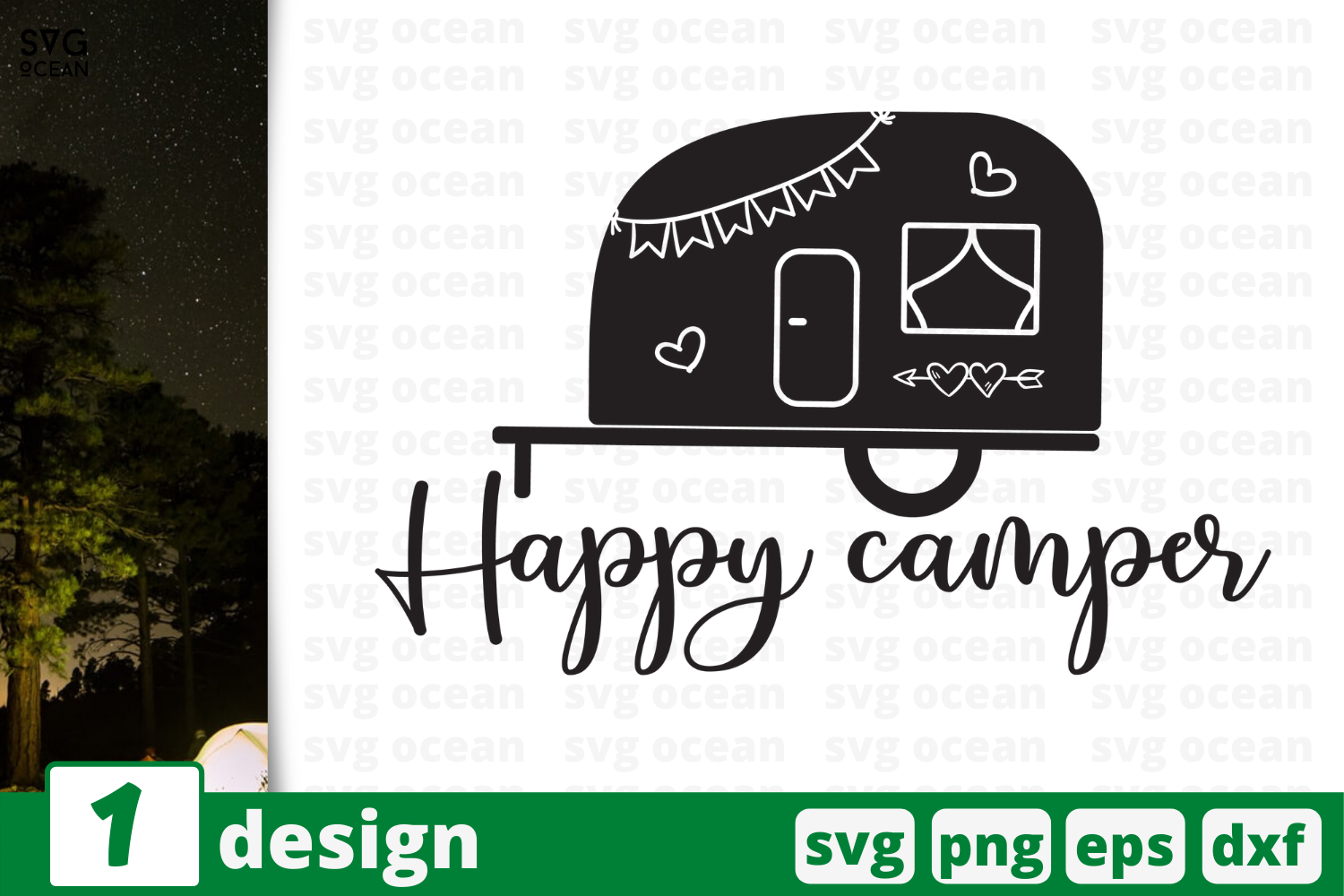 Download Free Happy Camper Graphic By Svgocean Creative Fabrica for Cricut Explore, Silhouette and other cutting machines.