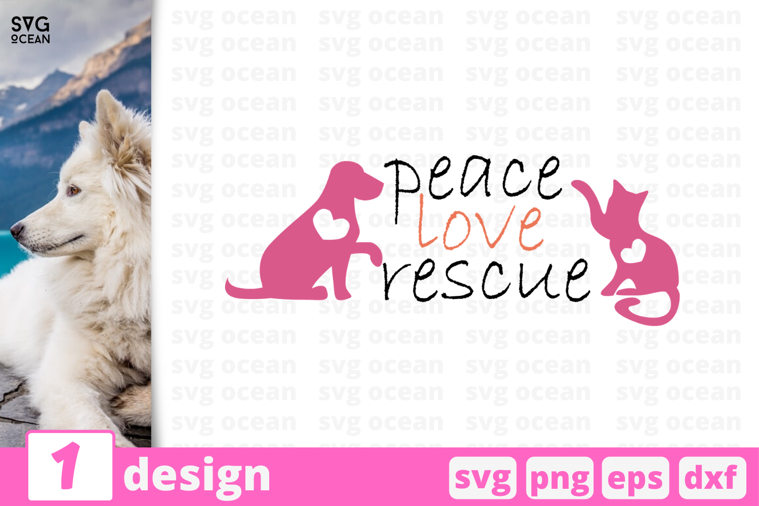 Download Free Peace Love Rescue Graphic By Svgocean Creative Fabrica for Cricut Explore, Silhouette and other cutting machines.