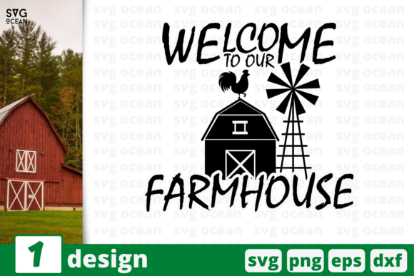 Download Free Welcome To Out Farmhouse Graphic By Svgocean Creative Fabrica for Cricut Explore, Silhouette and other cutting machines.