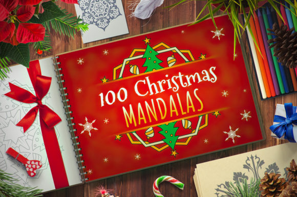 Download Free 100 Christmas Mandala Ornaments Graphic By Pixaroma Creative for Cricut Explore, Silhouette and other cutting machines.