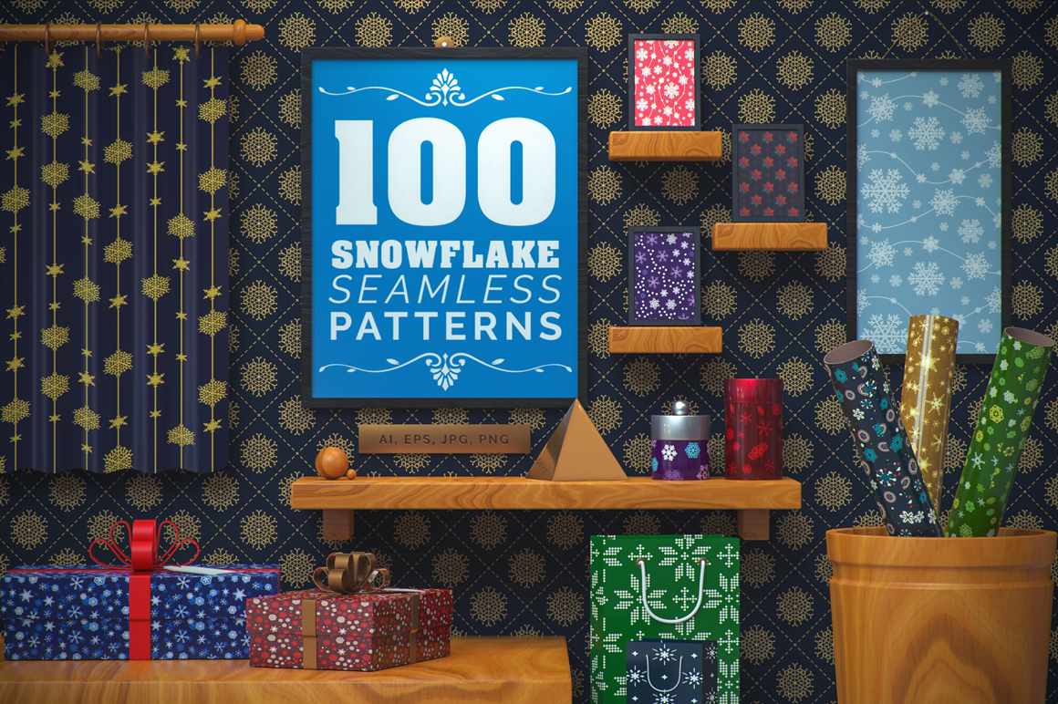 Download Free 100 Snowflake Seamless Patterns Graphic By Pixaroma Creative for Cricut Explore, Silhouette and other cutting machines.
