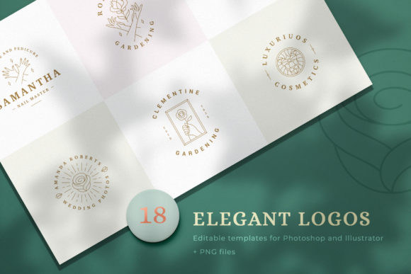 Download Free 18 Elegant Line Logos Graphic By Vasyako1984 Creative Fabrica for Cricut Explore, Silhouette and other cutting machines.