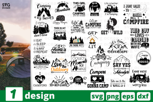 Print on Demand: 30 Camping Quotes Bundle Graphic Print Templates By SvgOcean