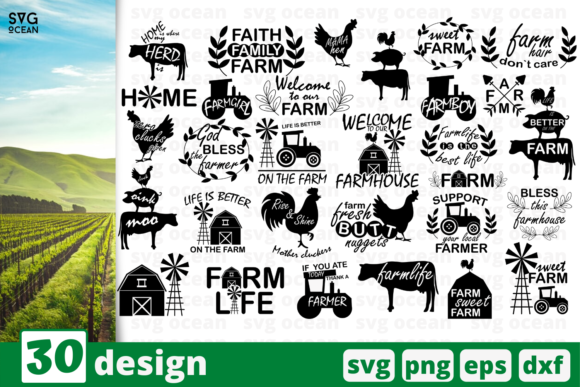 Print on Demand: 30 Farm Quotes Bundle Graphic Print Templates By SvgOcean