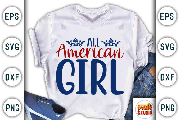 Print on Demand: 4th of July, All American Girl Graphic Print Templates By CraftStudio