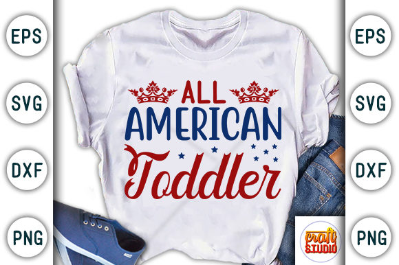 Download Free 4th Of July All American Toddler Graphic By Craftstudio for Cricut Explore, Silhouette and other cutting machines.