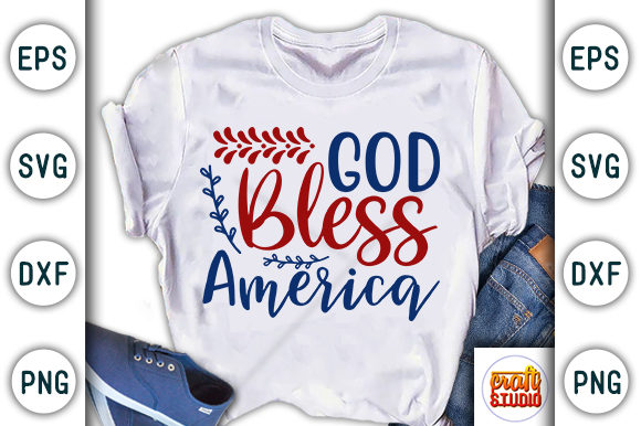 Download Free 4th Of July God Bless America Graphic By Craftstudio Creative for Cricut Explore, Silhouette and other cutting machines.