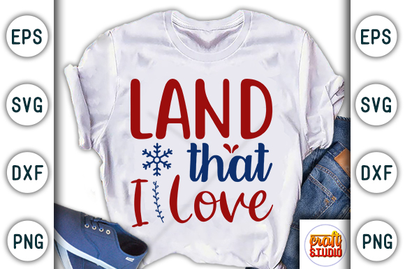 Download Free 4th Of July Land That I Love Graphic By Craftstudio Creative for Cricut Explore, Silhouette and other cutting machines.
