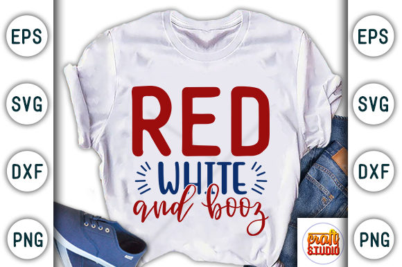 Print on Demand: 4th of July, Red White and Booz Graphic Print Templates By CraftStudio