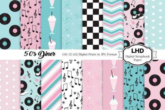 Download Free 50 S Diner Digital Patterns Pink Blue Graphic By for Cricut Explore, Silhouette and other cutting machines.