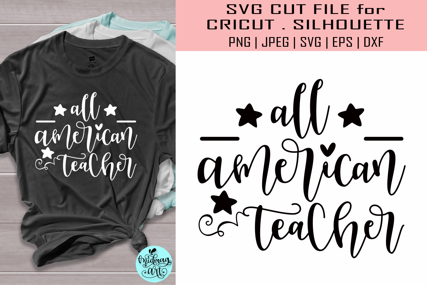 Download Free All American Teacher Graphic By Midmagart Creative Fabrica for Cricut Explore, Silhouette and other cutting machines.