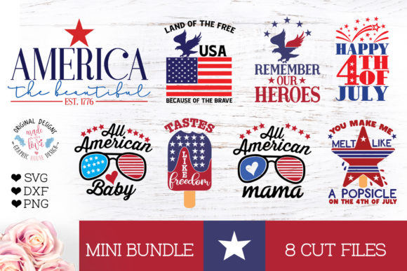 Download Free America Patriotic 4th Of July Mini Bundle Graphic By for Cricut Explore, Silhouette and other cutting machines.