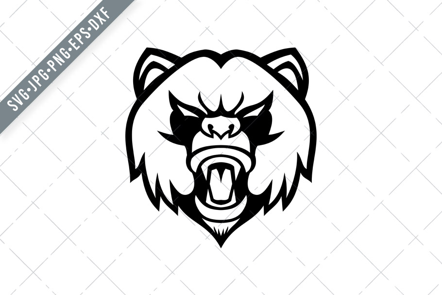 Download Free Angry Giant Panda Head Front Graphic By Patrimonio Creative for Cricut Explore, Silhouette and other cutting machines.