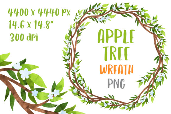 Apple Tree Wreath Floral Clipart Graphic Crafts By GreenWolf Art