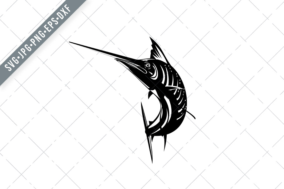 Download Free Atlantic Sailfish Jumping Up Woodcut Graphic By Patrimonio for Cricut Explore, Silhouette and other cutting machines.