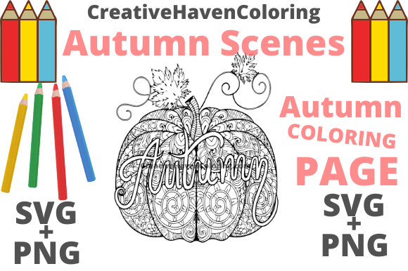 Print on Demand: Autumn Coloring Page #16 Graphic Coloring Pages & Books Adults By creativehavencoloring