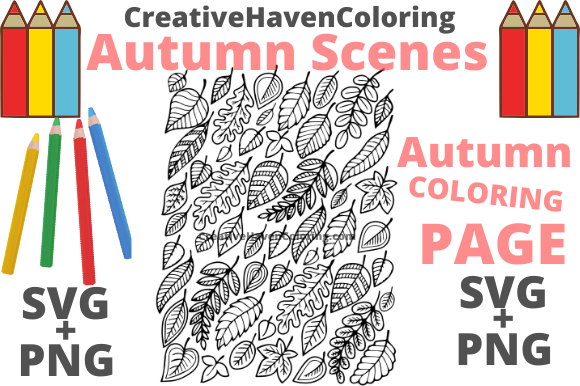 Download Free Autumn Coloring Page 2 Graphic By Creativehavencoloring for Cricut Explore, Silhouette and other cutting machines.